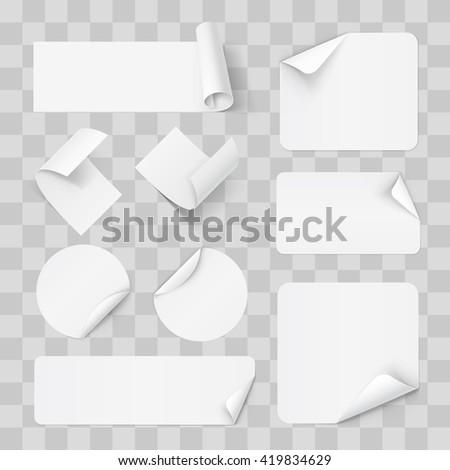 Raster version. Big Set of Paper Sticker on Transperent Background - stock photo