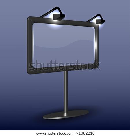raster version. billboard on blue. Vector illustration - stock photo