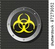 raster version. biohazard circle icon on metal plate for your design. - stock vector