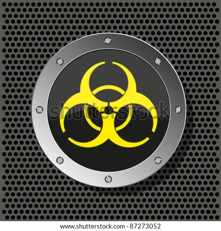 raster version. biohazard circle icon on metal plate for your design. - stock photo