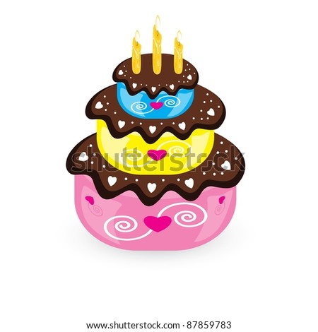 Raster version. Birthday cake and candle. Illustration on white background