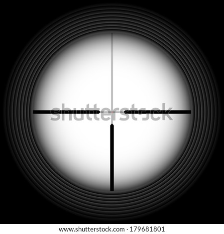 Raster version. Black-and-white crosshair with blank space. Military and weapon - stock photo