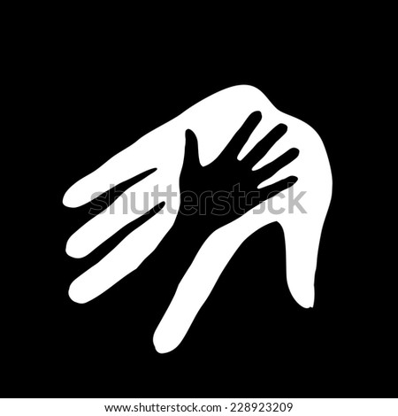 Raster version. Black-and-white hand in hand illustration symbolizing concept of help, assistance and cooperation.  - stock photo
