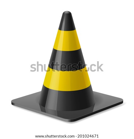 Raster version. Black and yellow road cone. Safety sign used to prevent accidents during road construction