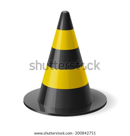 Raster version. Black and yellow traffic cone. Safety sign used to prevent accidents during road construction