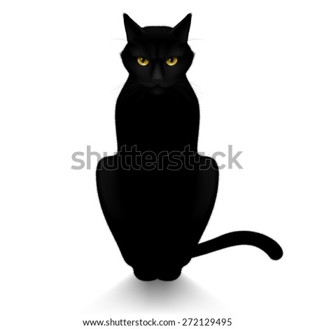 Raster version. Black cat isolated on a white background  - stock photo
