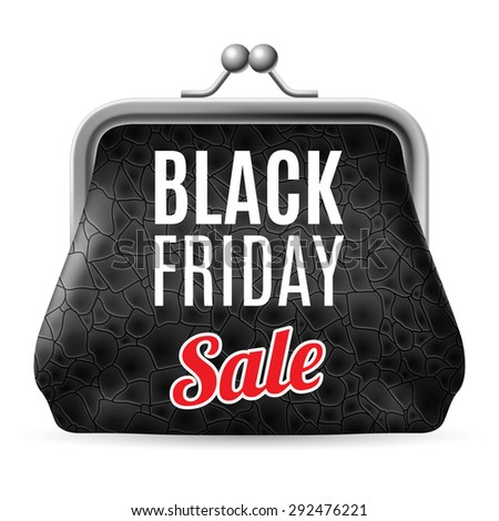 Raster version. Black Friday discounts, increasing consumer growth. Black leather purse - stock photo