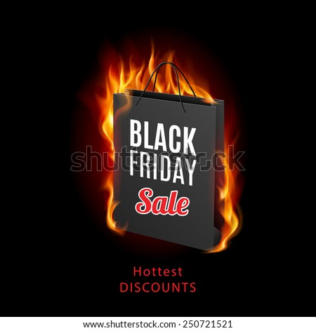 Raster version. Black Friday discounts, increasing consumer growth. Fire packet  - stock photo