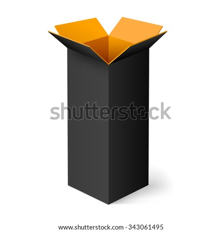 Raster version. Black opened rectangular box with orange color inside