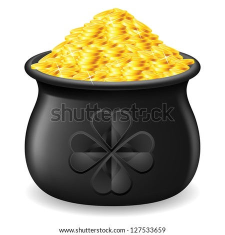 Raster version. Black Pot full of gold coin. Illustration on white - stock photo