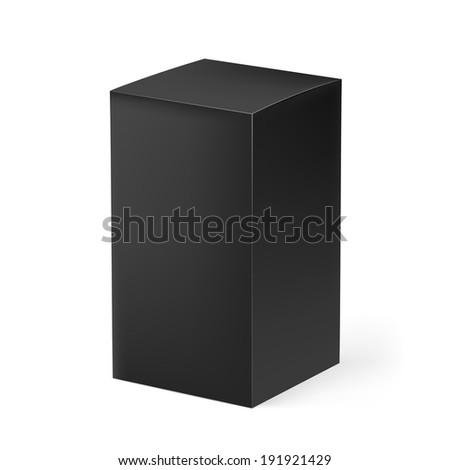 Raster version. Black rectangular carton box isolated on white background - stock photo