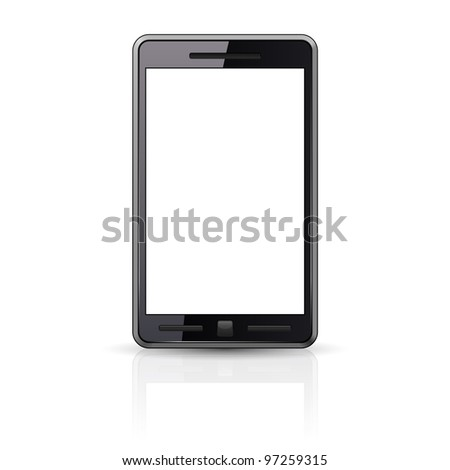 Raster version. Black Smart-phone isolated on white background - stock photo