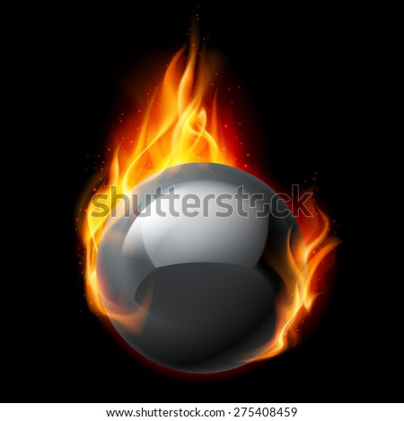 Raster version. Black sphere in flames on a black background - stock photo