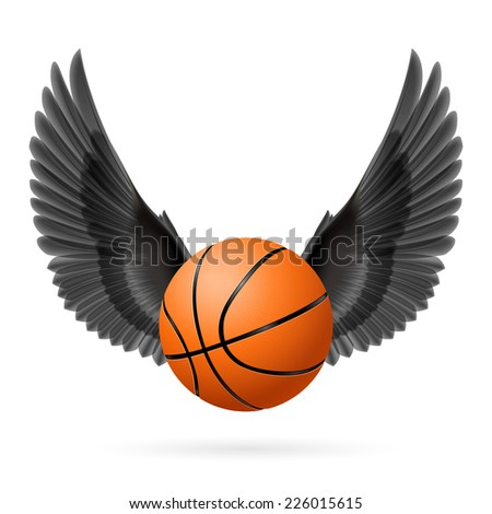 Raster version. Black wings with  basketball  on  white background  - stock photo