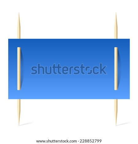 Raster version. Blank banner with blue paper on toothpicks. Illustration on white background  - stock photo