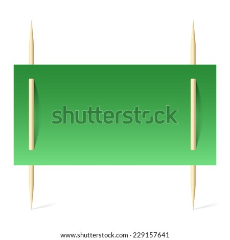 Raster version. Blank banner with green paper on toothpicks. Illustration on white background  - stock photo