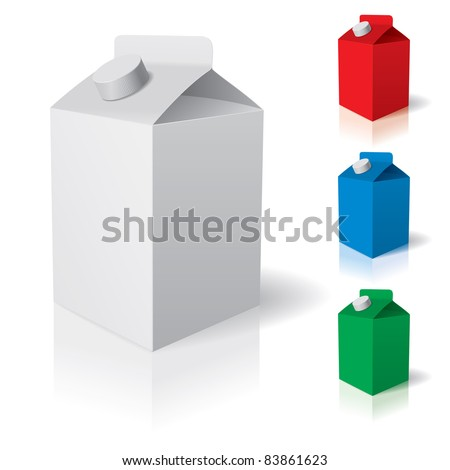 Raster version. Blank carton isolated over a white background.  illustration - stock photo