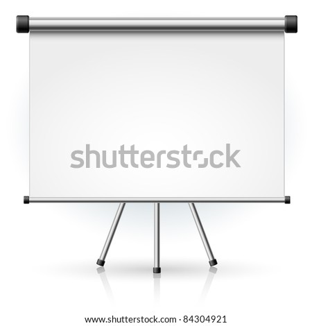 Raster version. Blank portable projection screen over white background for design - stock photo