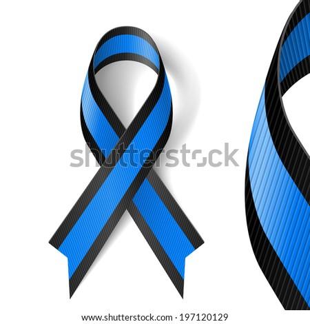 Raster version. Blue and black awareness ribbon as symbol of ocular melanoma - stock photo