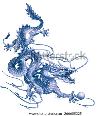 Raster version / Blue dragon running down diagonally on a white background - stock photo