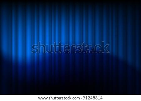 Raster version. Blue drapes reflected. Illustration of the designer - stock photo