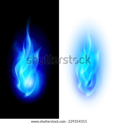 Raster version. Blue fire flames over contrast black and white backgrounds  - stock photo