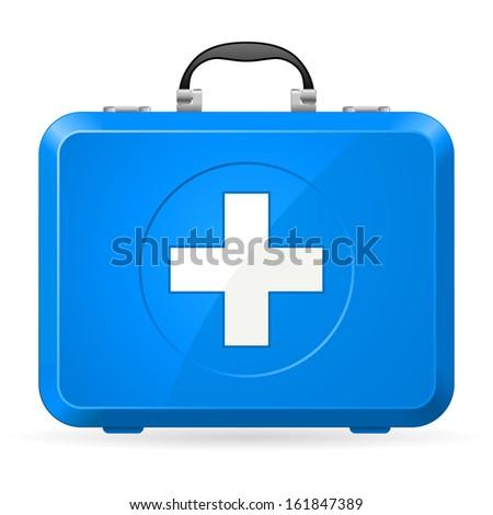 Raster version. Blue First Aid kit. Illustration on white - stock photo