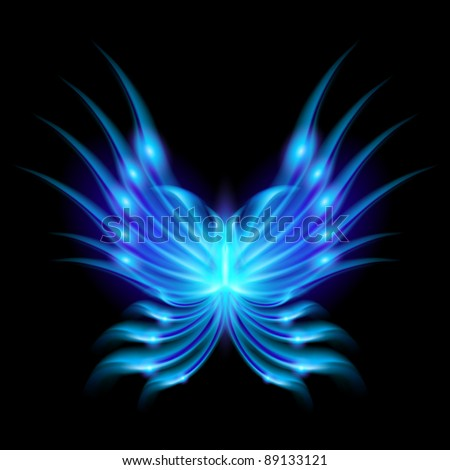 Raster version. Blue Flying butterfly with fiery wings. Abstract Illustration on black background - stock photo
