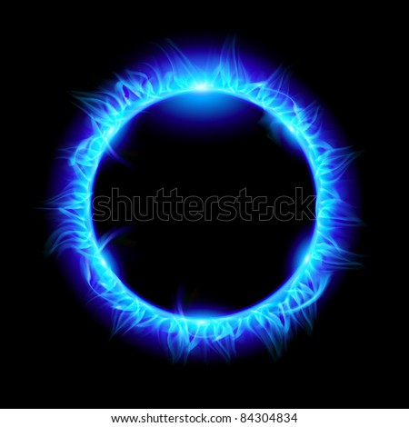 Raster version. Blue Solar eclipse. Illustration on black background for design - stock photo