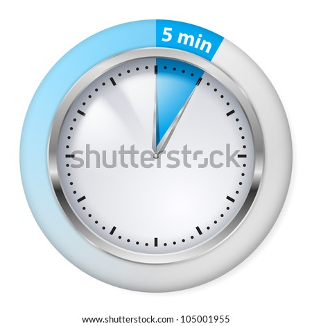 Raster version. Blue Timer Icon. Five Minutes. Illustration on white.