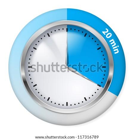 Raster version. Blue Timer Icon. Twenty Minutes. Illustration on white. - stock photo