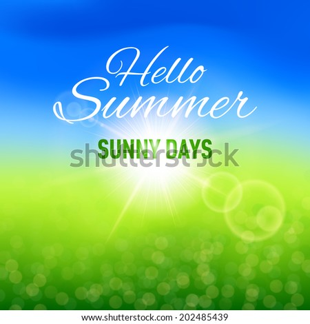 Raster version. Blurred sunny background for your summer design - stock photo