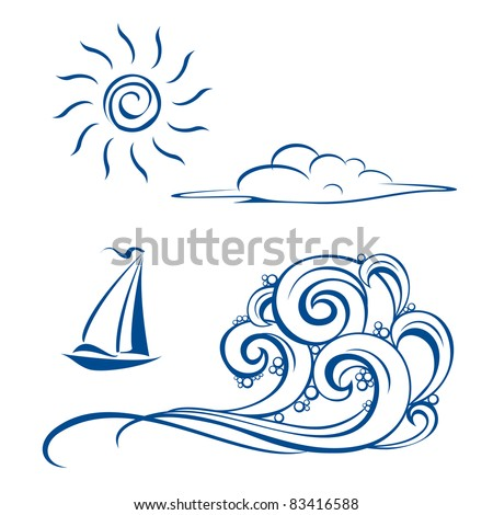 Raster version. Boat waves, clouds and sun.  illustration on white
