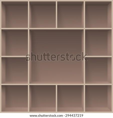 Raster version. Bookshelves. Illustration for creative design programms template  - stock photo