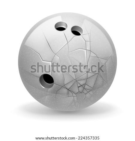 Raster version. Bowling. White broken ball on the light background.  - stock photo