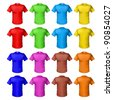 Raster version. Bright colored shirts. Illustration on white background for design - stock photo