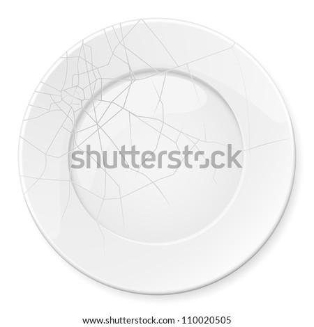 Raster version. Broken Plate. Illustration for design on white background - stock photo