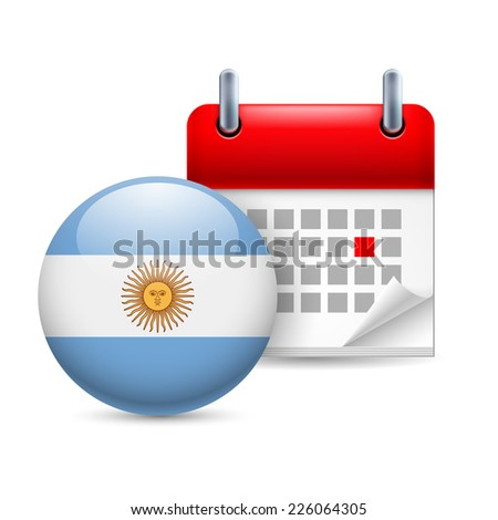 Raster version. Calendar and round Argentinian flag icon. National holiday in Argentina  - stock photo