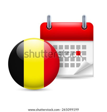 Raster version. Calendar and round Belgian flag icon. National holiday in Belgium