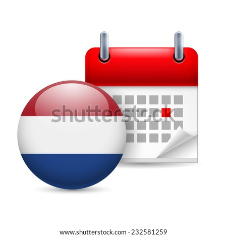 Raster version. Calendar and round Dutch flag icon. National holiday in Netherlands  - stock photo