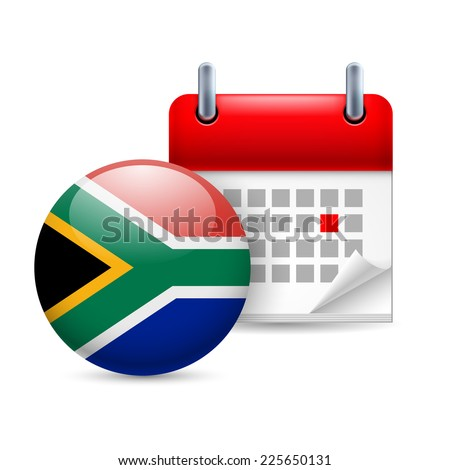 Raster version. Calendar and round flag icon. National holiday in South Africa  - stock photo