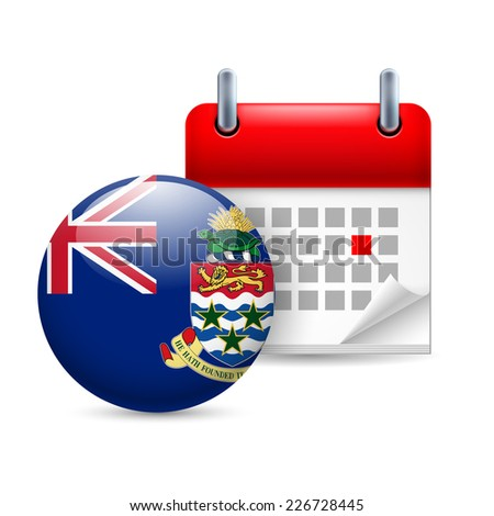 Raster version. Calendar and round flag icon. National holiday on Cayman Islands  - stock photo