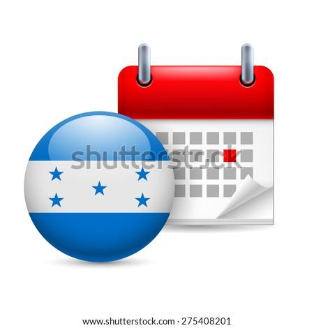 Raster version. Calendar and round Honduran flag icon. National holiday in Honduras - stock photo