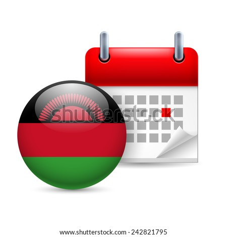 Raster version. Calendar and round Malawian flag icon. National holiday in Malawi  - stock photo