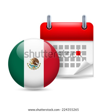 Raster version. Calendar and round Mexican flag icon. National holiday in Mexico  - stock photo