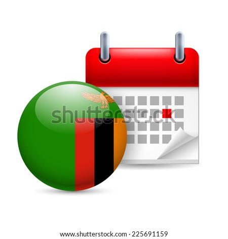 Raster version. Calendar and round Zambian flag icon. National holiday in Zambia  - stock photo