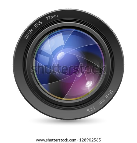 Raster version. Camera icon Lens. Illustration on white background - stock photo