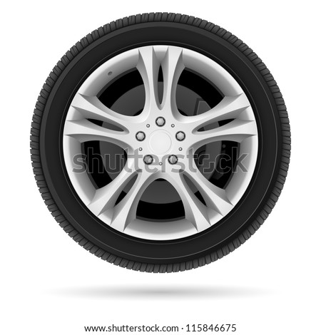 Raster version. Car wheel. Illustration on white background for design - stock photo