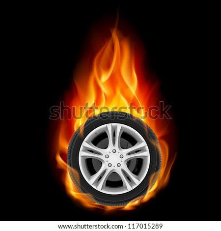 Raster version. Car Wheel on Fire. Illustration on black - stock photo