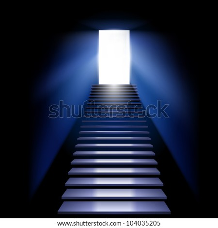 Raster version. Career ladder leading to the light. Illustration on white background. - stock photo